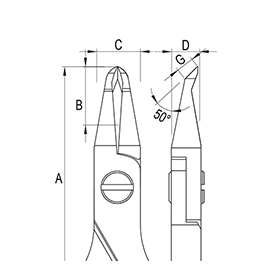 Oblique Small Tip Ergo-tek Cutters  diagram