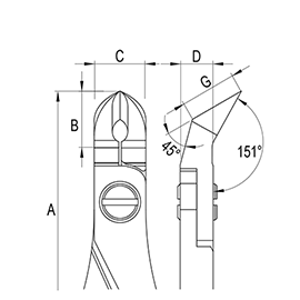 Oblique Head Large Ergo-tek Cutters diagram