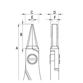 ergo-tek pliers - flat nose diagram