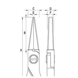 Ergo-tek Pliers - Long Flat Nose diagram