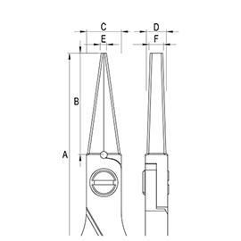 ergo-tek pliers - long flat nose diagram
